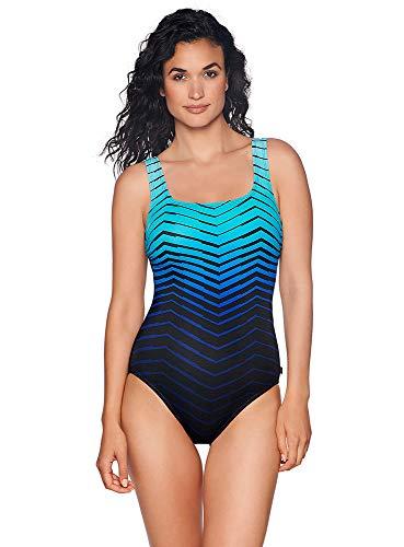 Reebok Women's Swimwear Sport Fashion Prime Performance Scoop Neck One Piece Swimsuit, Blue, 14