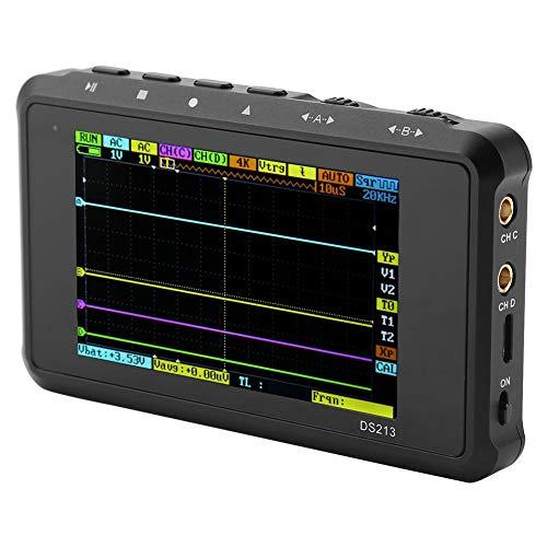 Mini Osciloscopio DS213 Portátil Portátil Mini 4 Canales 15MHz 100MSa / s Oscilador de bolsillo digital Analizador de forma de onda basado en ARM Cortex M3