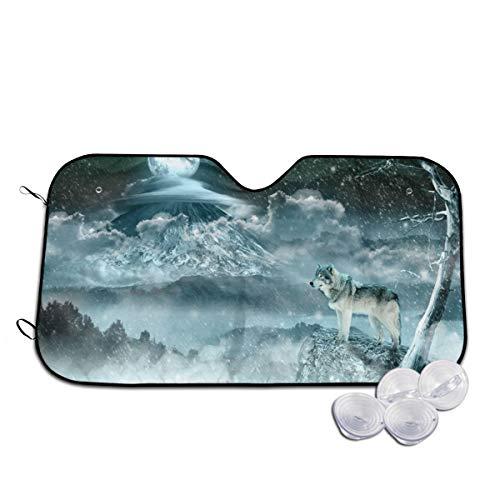 Wölfe auf den verschneiten Bergen in dem Nachthimmel, Auto-Frontscheibe, Sonnenschutz, blockiert UV-Strahlen, um Ihr Fahrzeug kühl zu halten, für SUV, LKW, personalisierbar Gr. 80, weiß