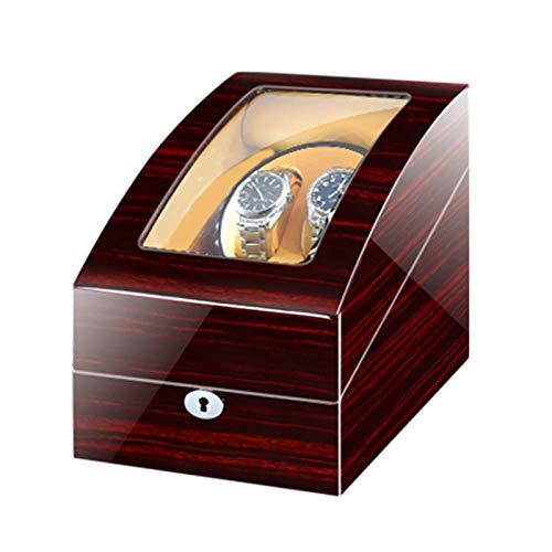 CWYP-MS Raya automática Winder con Motor de Mabuchi japonés, Fuente de alimentación Dual, almacenes de Madera Caja de Caja para Relojes automáticos (Rojo + marrón)