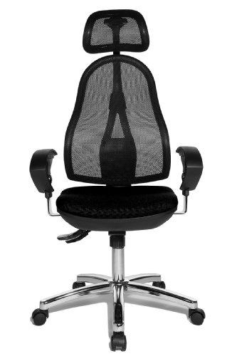 Topstar OP290UG20X Open Point SY Bürostuhl, Schreibtischstuhl, Syncro-Bandscheiben-Drehstuhl, inkl. höhenverstellbare Armlehnen und Kopfstütze, Bezugsstoff schwarz