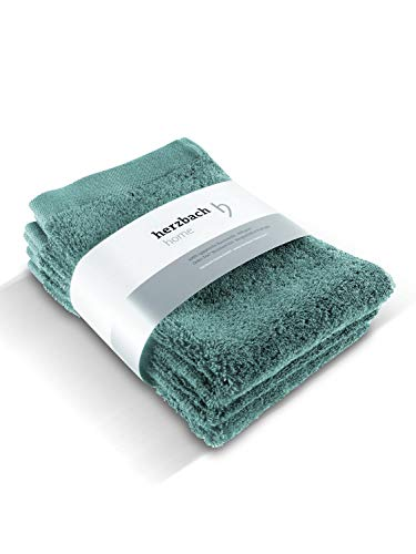 herzbach home Juego de 3 toallas de mano de lujo de alta calidad, 100% algodón egipcio, 30 x 50 cm, 600 g/m (verde océano)