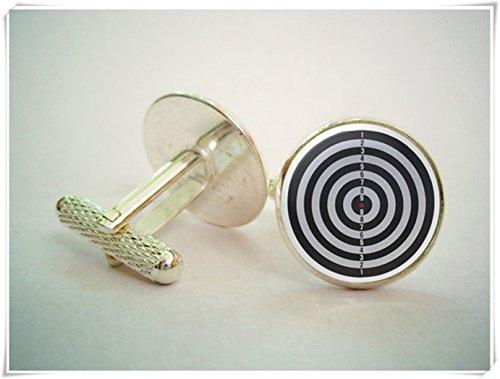 Elf House Dartpfeile Target Manschettenknöpfe, Exquisite Ornamente, kuppelförmiger Glasschmuck, Reine Handarbeit