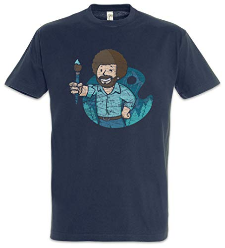 Urban Backwoods Bob Ross Boy Herren T-Shirt Blau Größe M