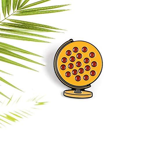 QISKAII Köstliche rote Bohnen Pizza Globus Emaille Pin Reise Geographie Tourismus Ausrüstung Denim Rucksack Abzeichen Schmuck Brosche Geschenk