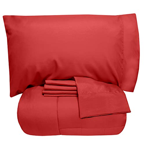 Sweet Home Collection 5 Piece Comforter Set Bag Solid Color All Season Soft Down Alternative Blanket & Luxurious Microfiber Bed Sheets, Twin, Red