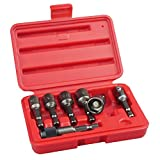 KAIFNT K453 Magnetic Power Nut Driver Bit Set with Socket Adapter and Extension, Quick-Change 1/4-Inch Hex Shank, SAE, 7-Piece