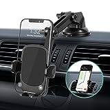 Amazon Brand - Eono Soporte Movil Coche 3 en 1, Brazo con Dos Puntos de Ajuste y Ventosa, para Salpicadero, Parabrisas y Rejilla de Ventilación,Compatible con Móviles de 4'-7' como iPhone,Huawei etc.