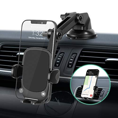 Amazon Brand - Eono Supporto da Auto per Cellulare, Design 3 in 1, per Cruscotto,Parabrezza e Bocchetta dell'Aria,Pieghevole con Braccio Mobile e Ventosa,per Tutti Gli Smartphone da Altri Modelli