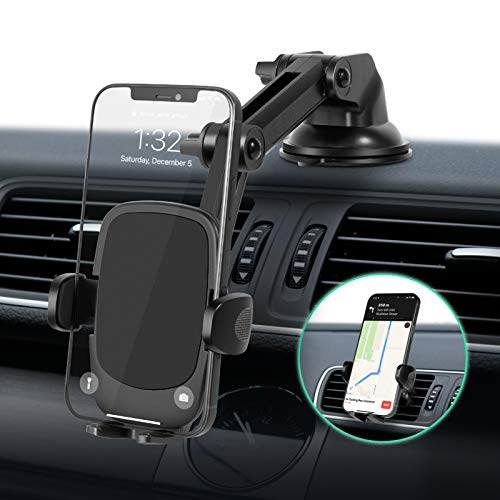 Eono by Amazon - Soporte Movil Coche 3 en 1, Brazo con Dos Puntos de Ajuste y Ventosa, para Salpicadero, Parabrisas y Rejilla de Ventilación,Compatible con Móviles de 4'-7' como iPhone,Huawei etc.