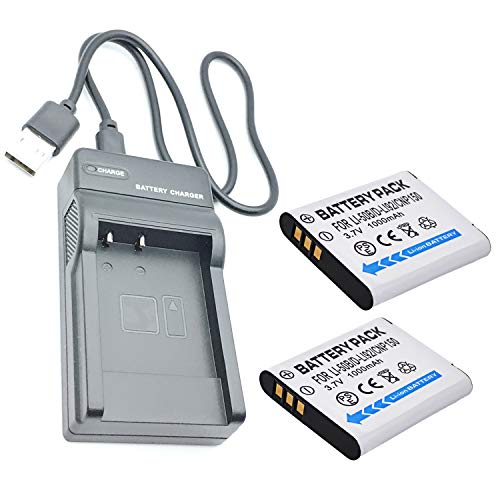 2 Battery and USB Travel Charger for Olympus Stylus XZ-1, XZ-10 Digital Camera