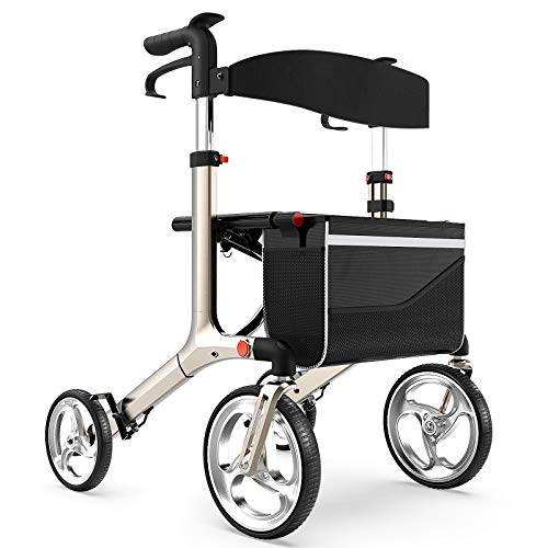 """Healconnex Luxury Rollator Walkers for Seniors- Rollator Walker with Bult-in Brake Cable, Rollator Walker with 10""""Large Wheels,Padded Seat and Backrest, Lightweight Aluminium Frame, Soft Rubber Handle"""
