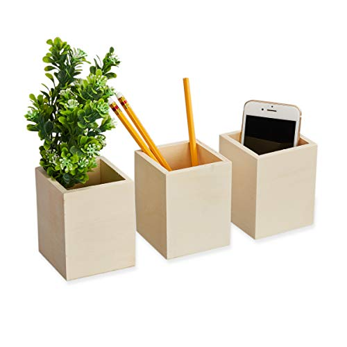 Unfinished Wooden Pencil Holder, Stationery Organizer (3 Pack)