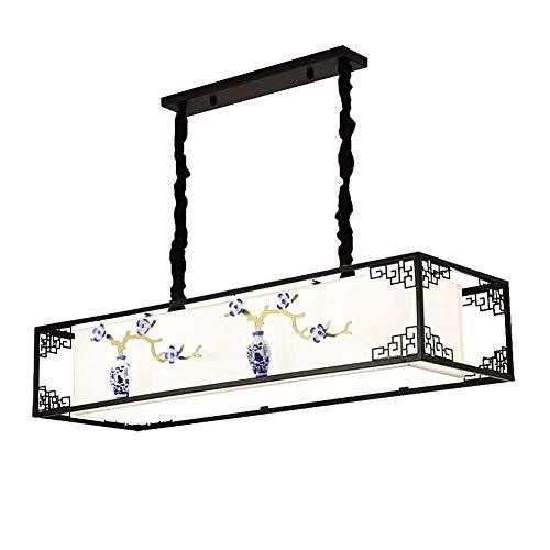 Lámpara de pie decorativa de decoración creativa lámpara de estilo chino, E26 rectangular tela colgante luz con tela blanca pantalla cerámica metal techo luz para comedor cocina isla