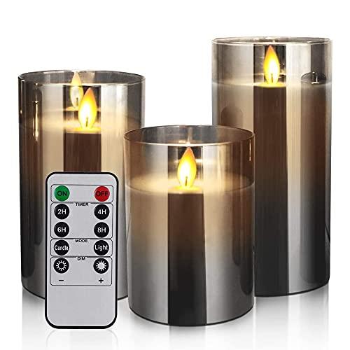 Niboow Velas LED sin llama, Funciona con Pilas Pilares Cera Real, Juego de Velas Falsas Eléctricas con Mando a Distancia Temporizador, para Decoración Fiesta de Bodas en el Hogar (paquete de 3, Gris)