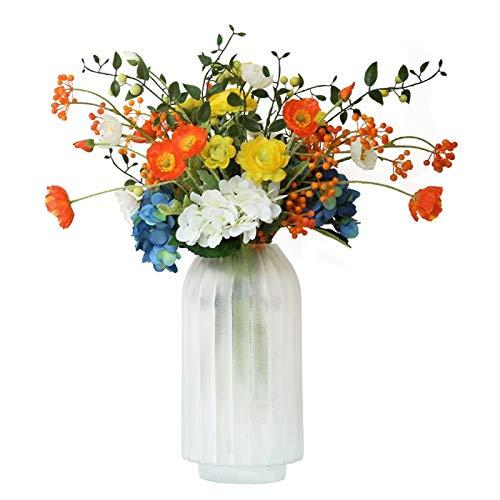 XMCF Sztuczny kwiat w doniczce sztuczny jedwab mieszanka i bukiet mebli zestaw, sztuczne kwiaty DIY bukiety aranżacje główny element na wesela, do domu, biura i na przyjęcia dekoracje stołu ozdoba centralna