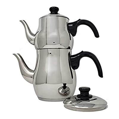 Turkish Double Tea Pot Kettle Water Boiler with Strainer Samovar Style (1.1 and 2.5L)