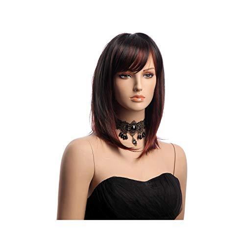 Pelucas cortas Bob para las mujeres recta Borgoña peluca lateral franja vino rojo