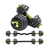 Juego de Barras y Mancuernas 4 en 1 (Peso Total 40 kg) | Fitness Musculación Entrenamiento Pesas en casa