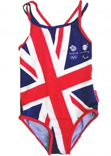 Team GB officiële Olympische Spelen Meisjes Zwemkostuum - Maten 1-5 Jaar Ouden