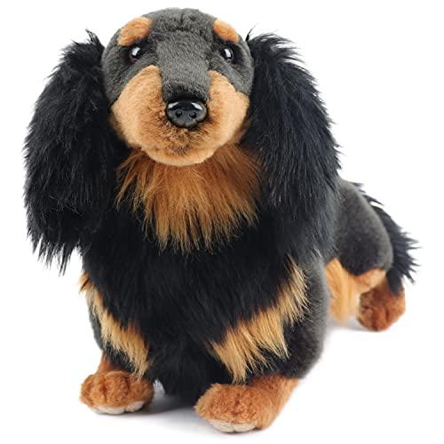 My Dog Mini - Dachshund Long Haired Dog Black - Premium Stuffed Animal Companion Pets - Lifelike & Realistic