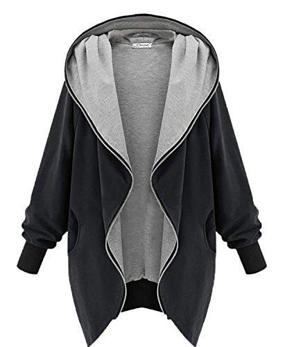 Minetom Frauen Hoodie Kapuzen Parka Herbst Frauen Oversize Parka Hooded Zipper Jacke Cardigan Blazer Mantel Outwear Schwarz Grün (Schwarz, EU M (Tag XL))