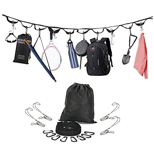 LXW Cantino de Camping al Aire Libre, Colgador de Cuerdas de Cuerda de cordón, con 19 bucles 8 Ganchos de carabinero 4 Pines de Ropa para Colgar Equipo de Camping Hamaca