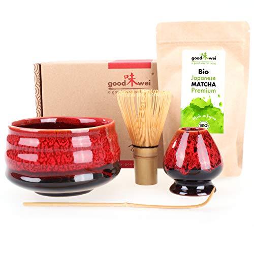 Teezeremonie-Set mit hochwertiger Matcha-Schale und echtem Bio Matcha aus Japan (Yogan)