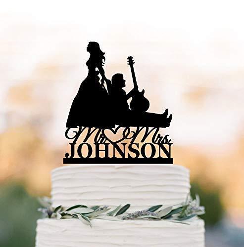 Cheyan Gitaar Speler Bruiloft Cake Topper, Bruid Trekken Muzikant Groom Silhouette, Bruid Slepen Groom, Grappige Muziek Cake Topper Gepersonaliseerd
