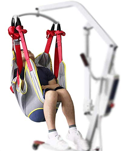 HNYG Large Sling Full Body Mesh Sling Medical Equipment, Patient Lift Sling with Commode Opening, Transfer Sling, Shower Sling, Toilet Sling (Weight Capacity 510 lbs)