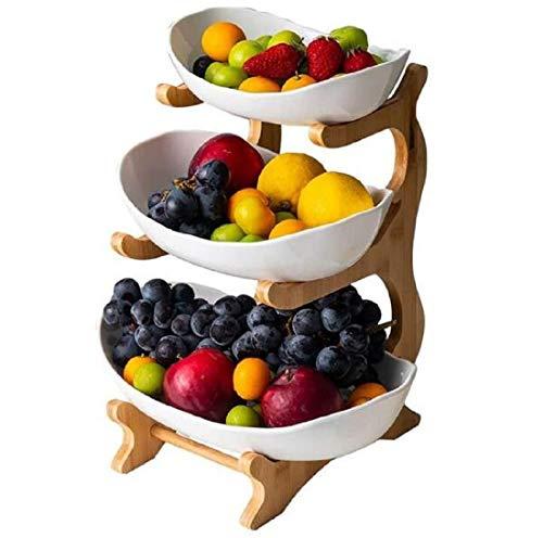 WYFFF Obstkorb Früchtekorb, 3-Stufige Obstschale (Regal Aus Bambus Und Holz * 1, Keramikschale * 3), Creative Arbeitsplatte Keramik Obst Etagere, Tischdekoration Obstkorb, Für Obst,Brot, Snacks,Weiß
