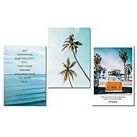 キャンバス絵画、熱帯海椰子の木バス風景壁アートキャンバスポスター北欧の壁の写真リビングルームフレームなし