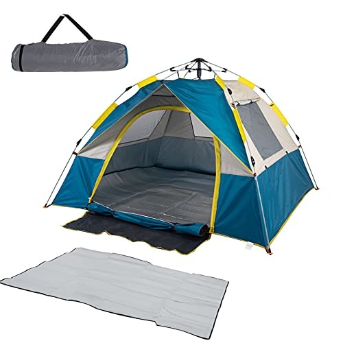 Pop Up Tent 4 Person Camping Tent Lightweight Easy Set Up Family Instant Tent for Camping Backpacking Hiking Mountaineering -Blue