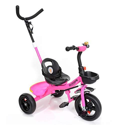 BABY-PLUS Scoopie Trike 2in1 Dreirad mit Schubstange, Freilauf, Korb, und Gurt [Berry]