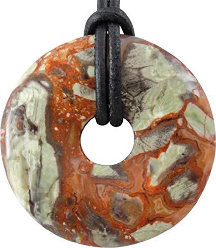 Flower Rhyolith Donut als Geschenkset mit Lederband, 30 mm, Edelstein rot, braun, grün, weiß vulkangestein