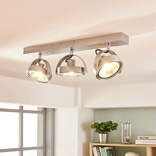 Arcchio LED Deckenlampe 'Lieven' dimmbar (Modern) in Alu aus Aluminium u.a. für Küche (3 flammig, G9, A+, inkl. Leuchtmittel) - Deckenleuchte, Wandleuchte, Strahler, Spot, Lampe, Küchenleuchte