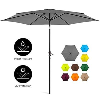 Best Choice Products 10ft Outdoor Steel Market Patio Umbrella w/Crank, Tilt Push Button, 6 Ribs, Gray