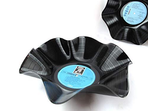 Schale aus Schallplatten - blau