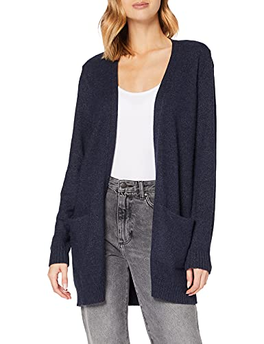 Vila Clothes Viril L/s Open Knit Cardigan-Noos Chaqueta Punto, Azul (Total Eclipse Detail: Melange), 40 (Talla del Fabricante: Large) para Mujer