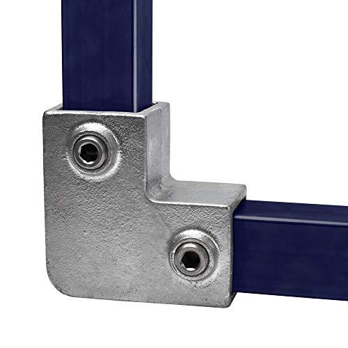 Klemp - Quadratische Rohrverbinder 40x40 mm Vierkantrohre Temperguss Bogen 90° - Typ 6S-40