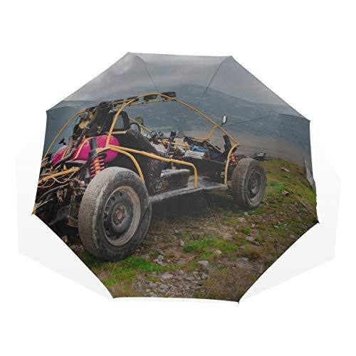 Reiseregenschirm Cartoon Monster Geländewagen Anti Uv Compact 3-Fach Kunst Leichte Klappschirme (Außendruck) Winddicht Regen Sonnenschutzschirme Für Frauen Mädchen Kinder