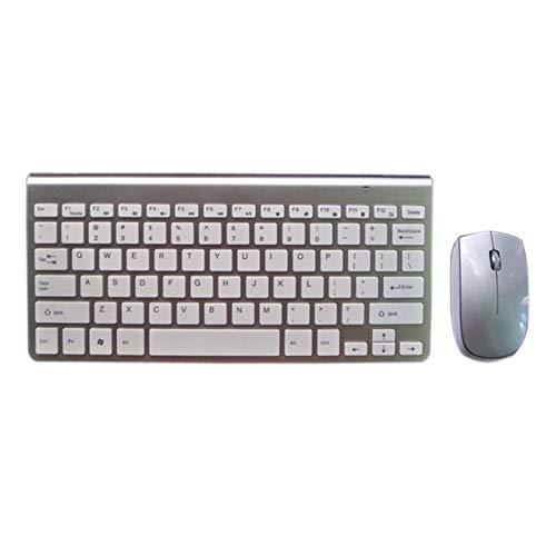 Angle-w Diseño elegante 2.4G Radio Keyboard Mouse Combo Radio Mouse 1200 ppp para Mac Win XP/7/8/10 Android TV Box Portátil Ultra-delgado Teclado de juegos de negocios (Color: Plata estándar)