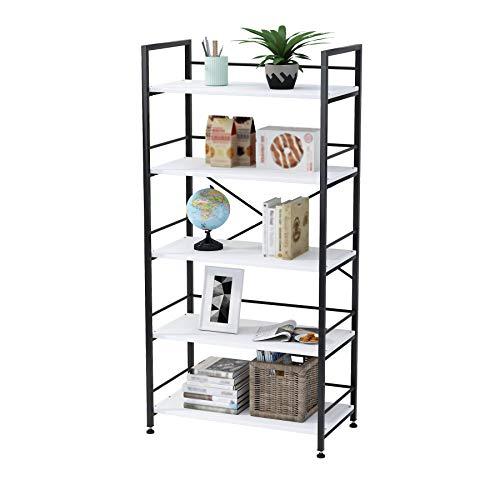 UDEAR Bookshelf Mordern Metal MDF Board Open Book Shelves Living Room Bookcase Shelving Unit Storage System Multifunctional,Black,5 Tier