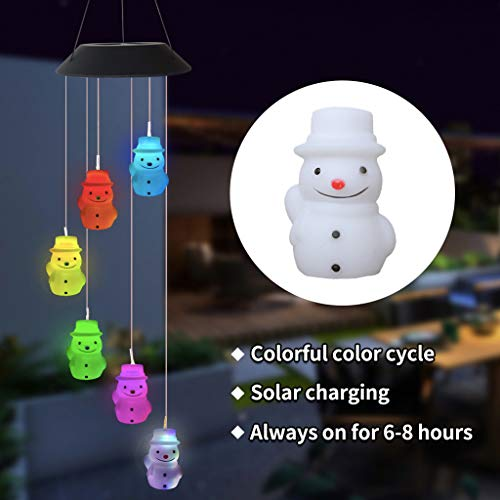 Vdaye LED Solar String Light Color Changing Wind Chime Lamp Courtyard Garden Decoration Christmas Tree Pendant Light Christmas Window Decoration Light Snowman Snowflake (Butterfly)