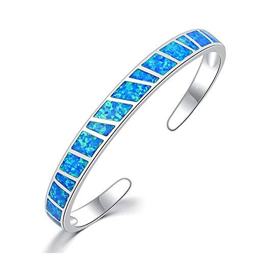 CiNily Womens Cuff Bracelet,Opal Bangle Bracelets Gold Plated Hypoallergenic Birthstone Bracelets Ladies Gemstone Bangle Bracelet blue