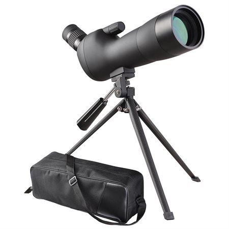 CHIMAERA Rubber-Coated and Waterproof Spotting Scope with Tripod and Case (Black)