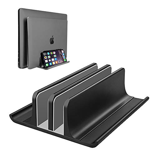 Double Adjustable Vertical Laptop Stand Newly Designed 2 Slots Aluminum Desktop Dual Holder for All MacBook/Chromebook/Surface/Dell/iPad Up to 17.3 Inches - Black