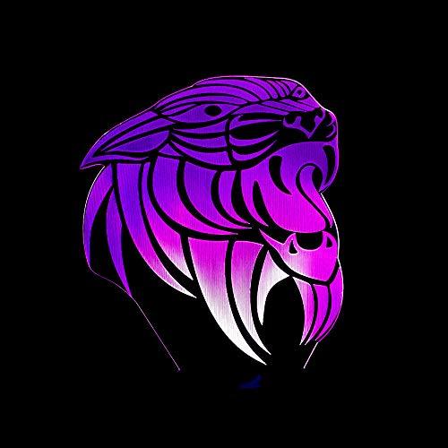 BFMBCHDJ 2019 New Lion Head 3D-Licht Bunte Farbverlauf Nachtlicht LED Touch Geschenk Licht 3D Visual Stereo Licht A2 Weiß Riss Basis