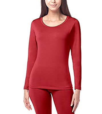 """LAPASA Women's Lightweight Thermal Underwear Top Fleece Lined Base Layer Long Sleeve Shirt L15 (1 Top/Red, S Chest 32.3""""-34"""" Sleeve 21"""")"""