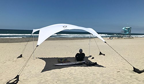 Neso Tents Gigante Beach Tent, 8ft Tall, 11 x 11ft, Biggest Portable Beach Shade, UPF 50+ SunProtection, Reinforced Corners and Cooler Pocket (White)
